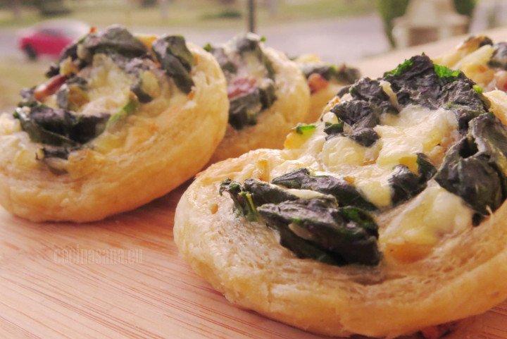 Rollos con Espinacas, rellenos con queso y nuez bocadillos sencillos y deliciosos