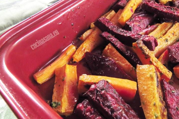 Zanahoria y betabel al horno con cilantro, receta sencilla y delicioa