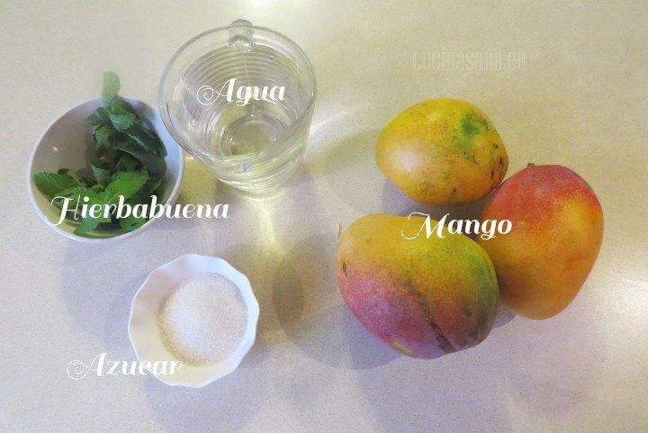 Ingredientes para el Agua de Mango