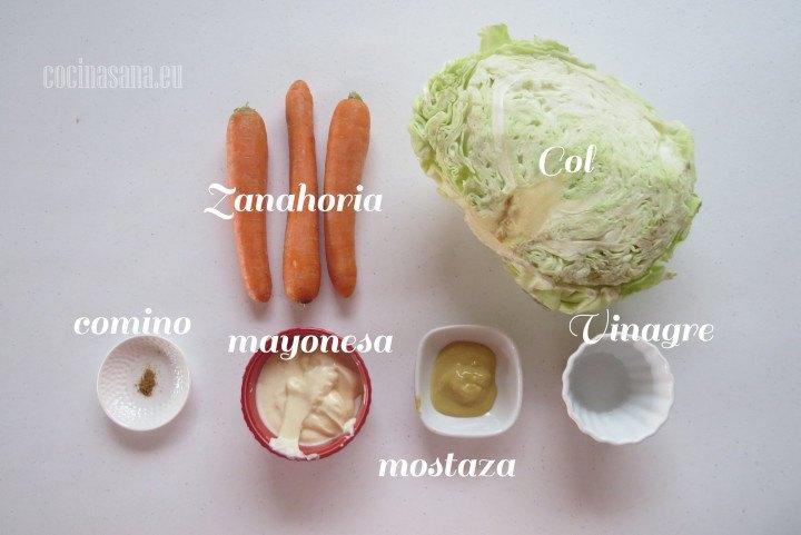 Ingredientes para la Ensalada de Col