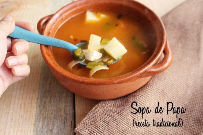 Receta tradicional de Sopa Mexicana de Papa