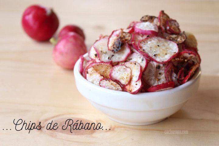 Chips de rabano horneados y listos para comer