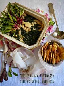 Porotos alubia, espinacas y chips crunchy de mandioca