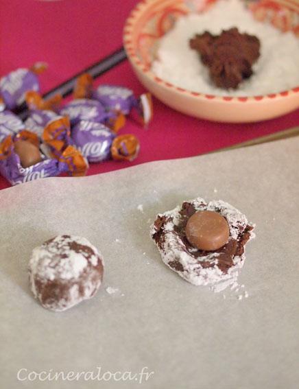 façonnage cookies au chocolat et caramel ©cocineraloca.fr