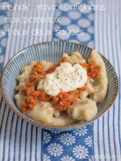 Ashak raviolis afghans aux poireaux et aux deux sauces ©cocineraloca.fr