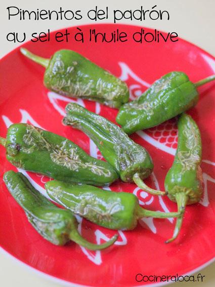 pimientos del padrón au sel et à l'huile d'olive ©cocineraloca.fr