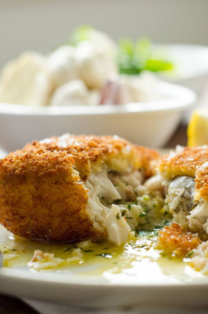 hake kiev stuffed with garlic butter
