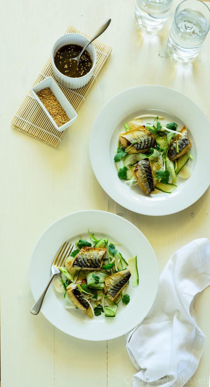 Warm Mackerel salad with cucumber and hoisin