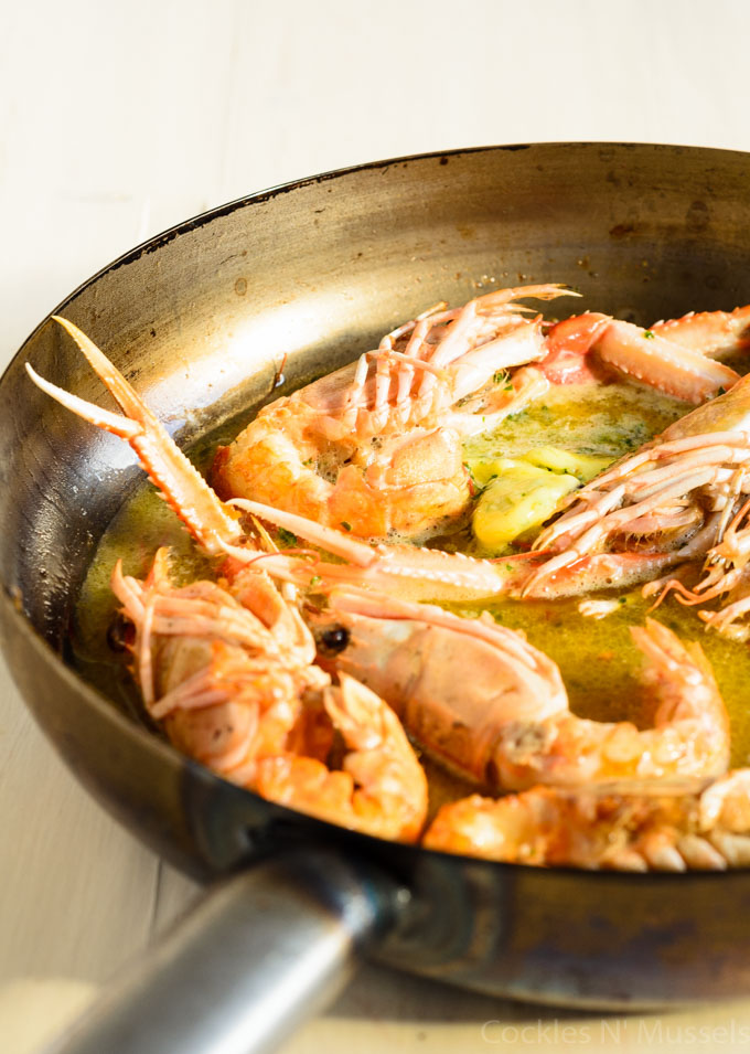 dublin bay prawns in garlic and white wine