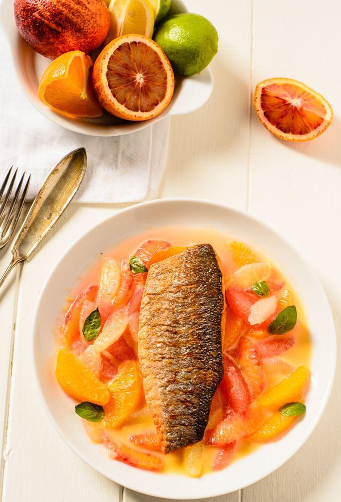 crispy citrus sea bass