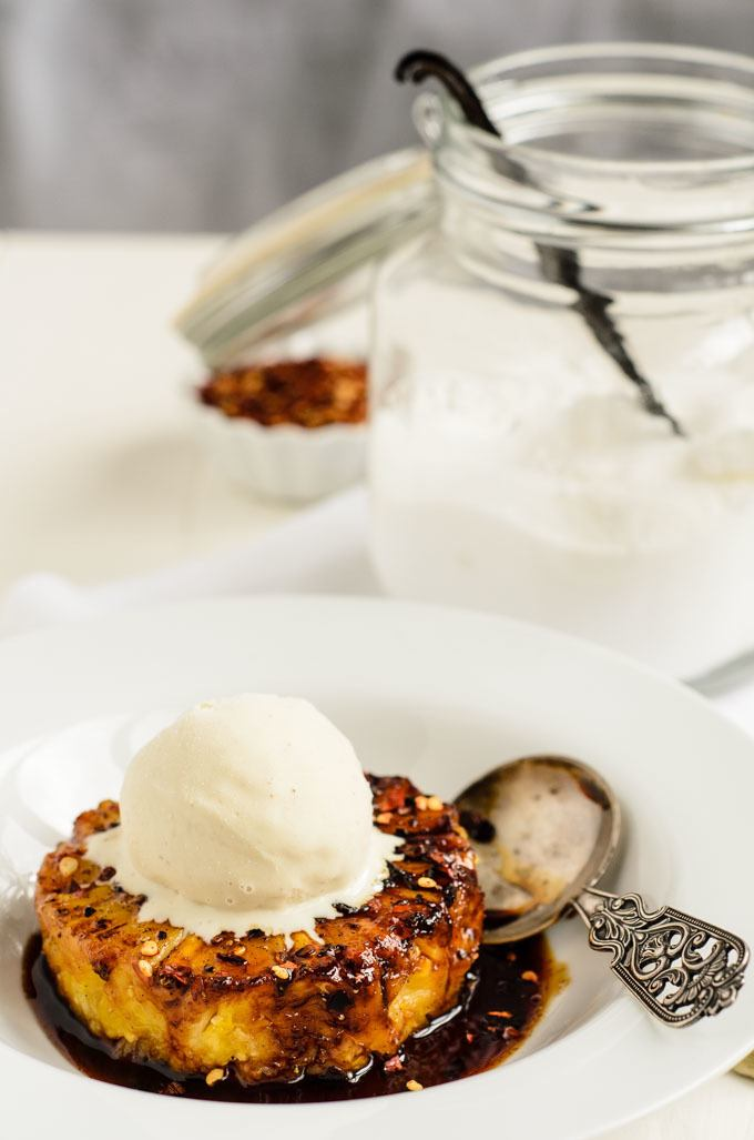 Caramelized Spiced Pineapple With Vanilla Ice Cream