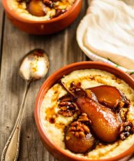 poached pear rice pudding