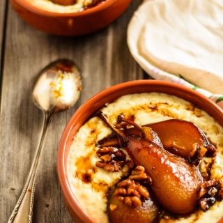 Creamy Ginger Rice Pudding With honeyed Roast Pears And Walnuts