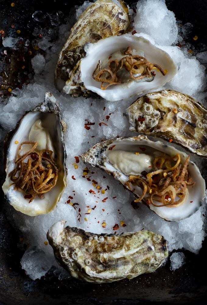oysters with crispy chilli shallots