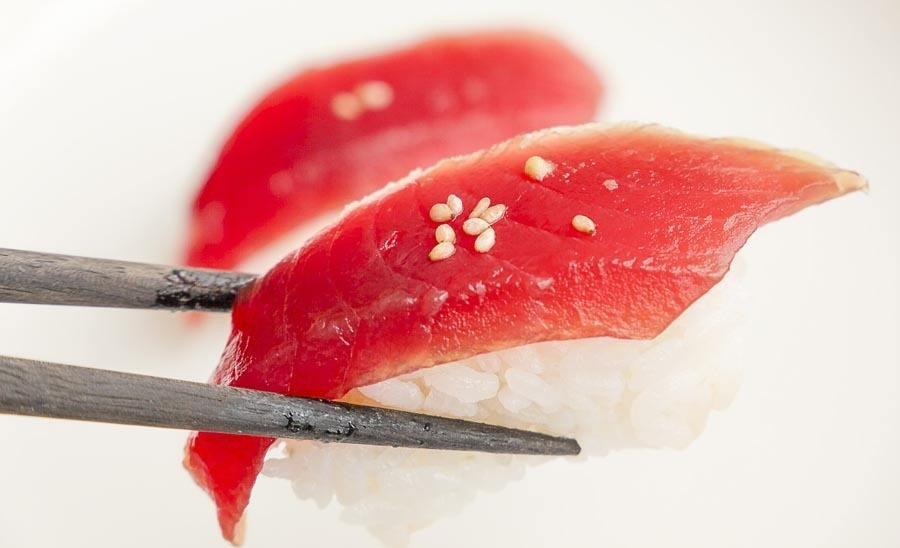 tuna, rice, and sesame