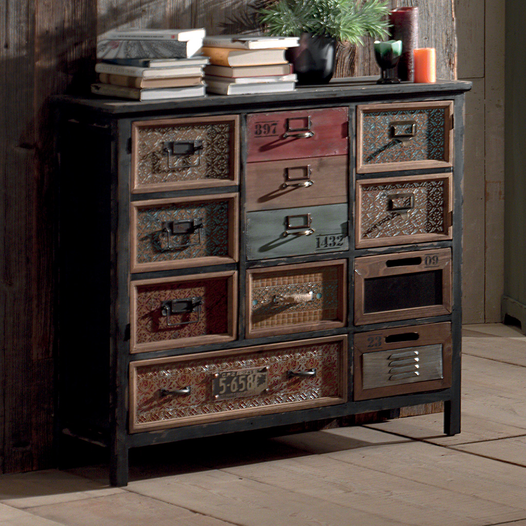 Commode Rtro WENDY OLD SCHOOL En Sapin Massif Vieilli