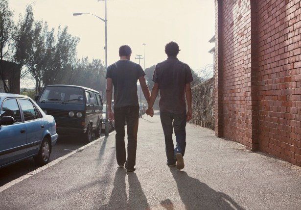 Gay male couple holding hands