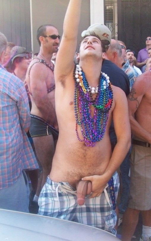 It Must Be Mardi Gras Men Flash For Beads During Street -9961