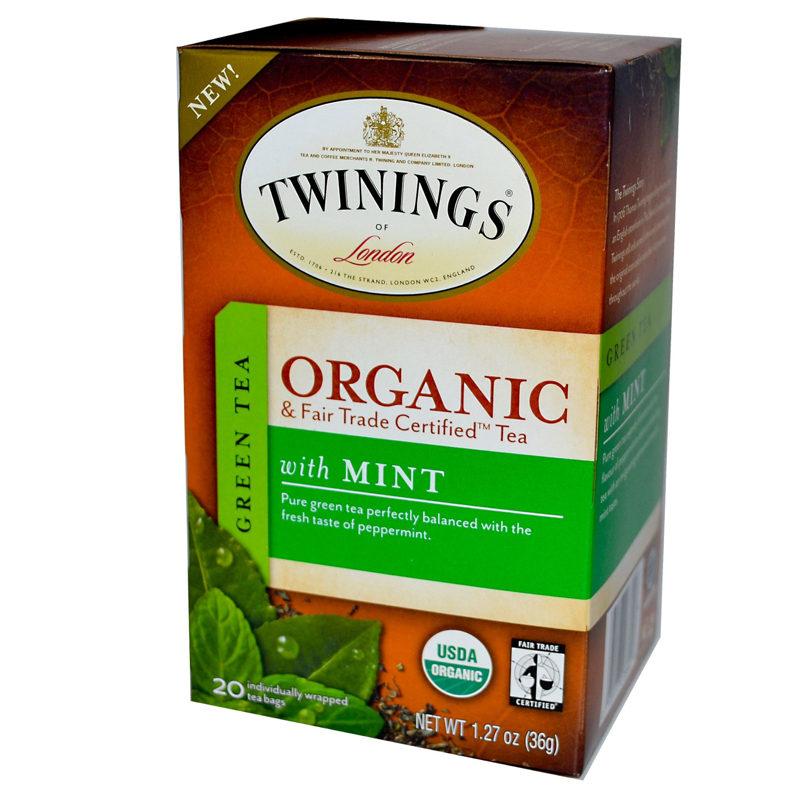 Mint Green Organic Tea Bags From Twinings
