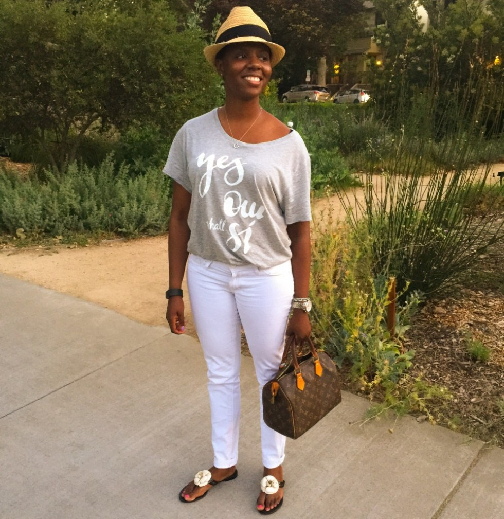 Davis Gray Tee White Jeans Fedora Blogger Style