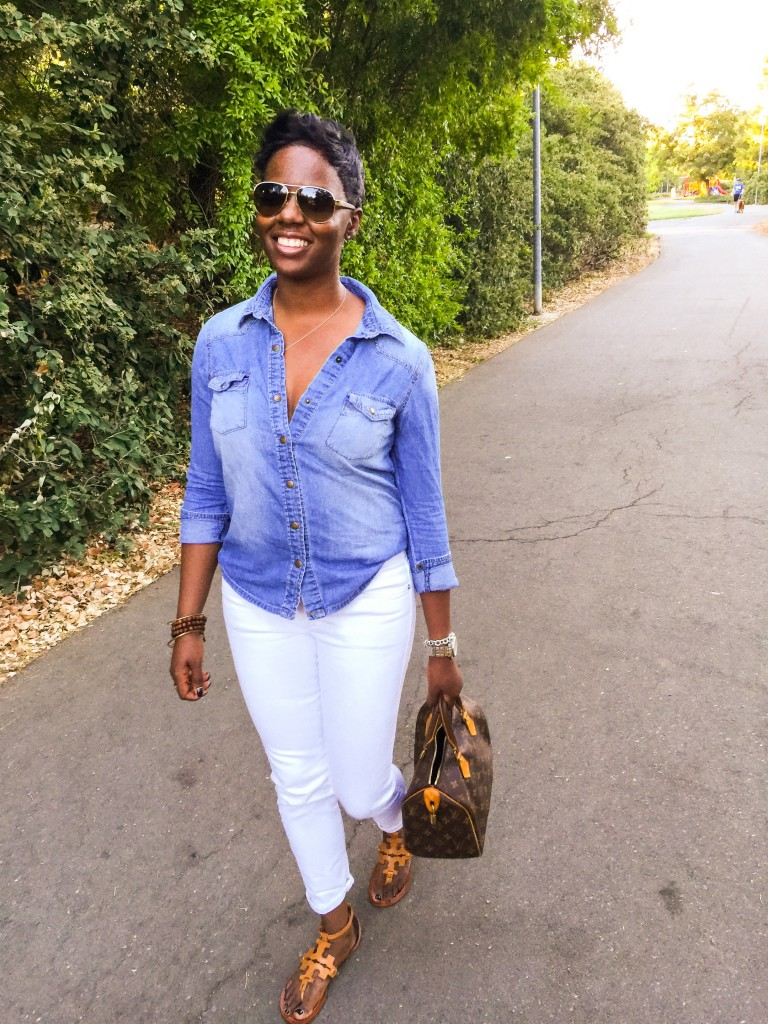 Chambray Shirt White Jeans Street Style