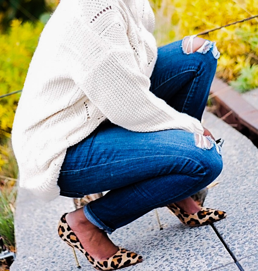 Cream Sweater Ripped Jeans Leopard Pumps