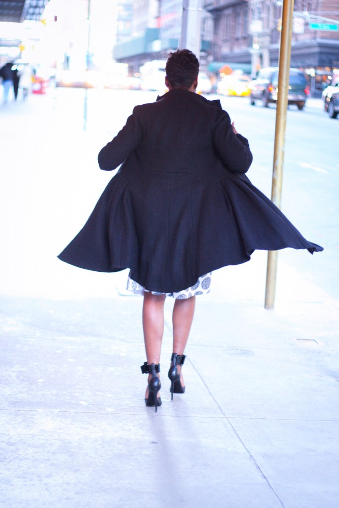 galentines day outfit black wool coat winter style