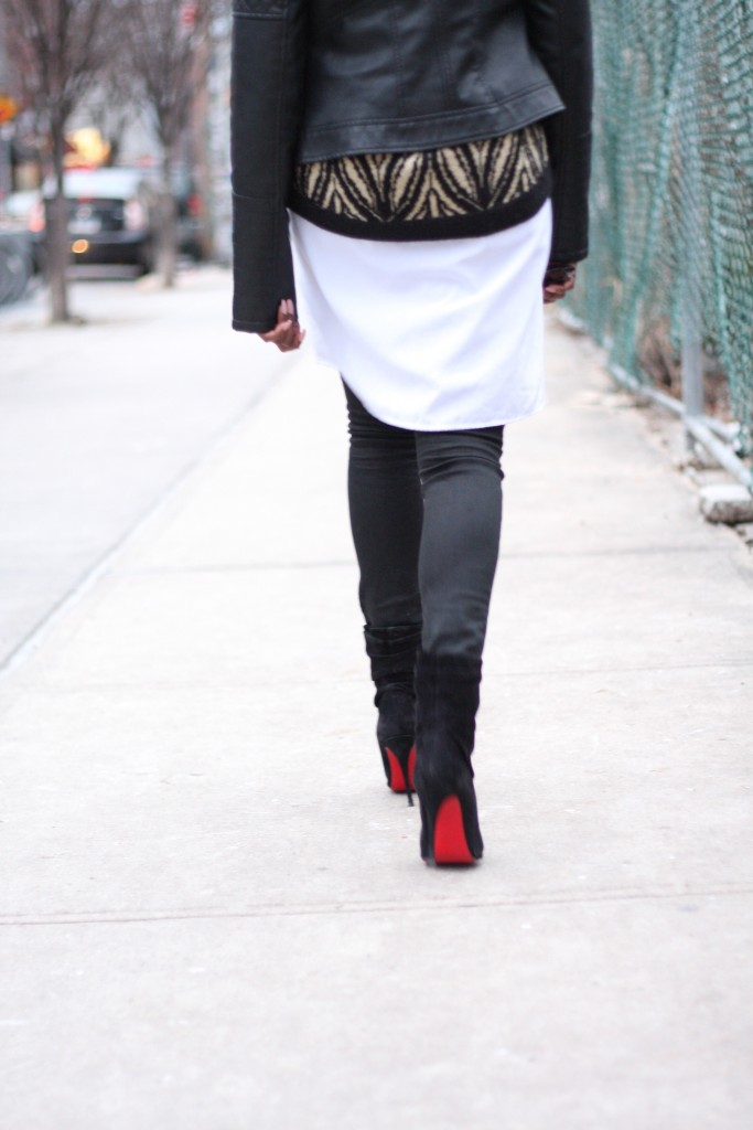 Leather Jacket Shirt Dress Layers Louboutin Booties Outfit Rear View