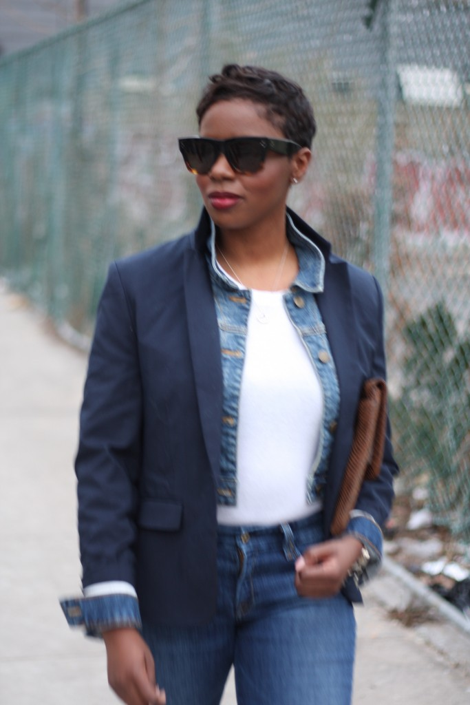 Navy Blazer Denim Jacket Layer