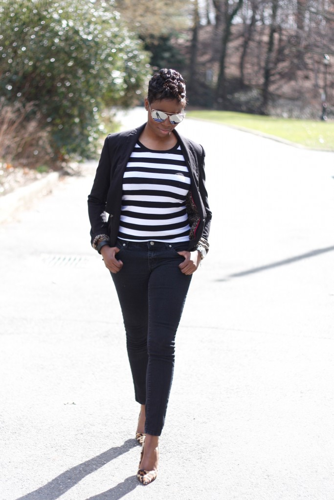 casual friday black blazer striped shirt black skinny jeans leopard pumps spring 2016