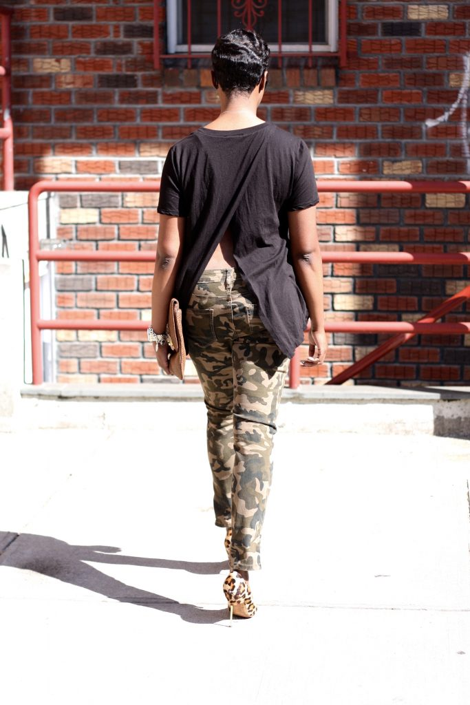 black open back shirt camo pants leopard pumps rear detail