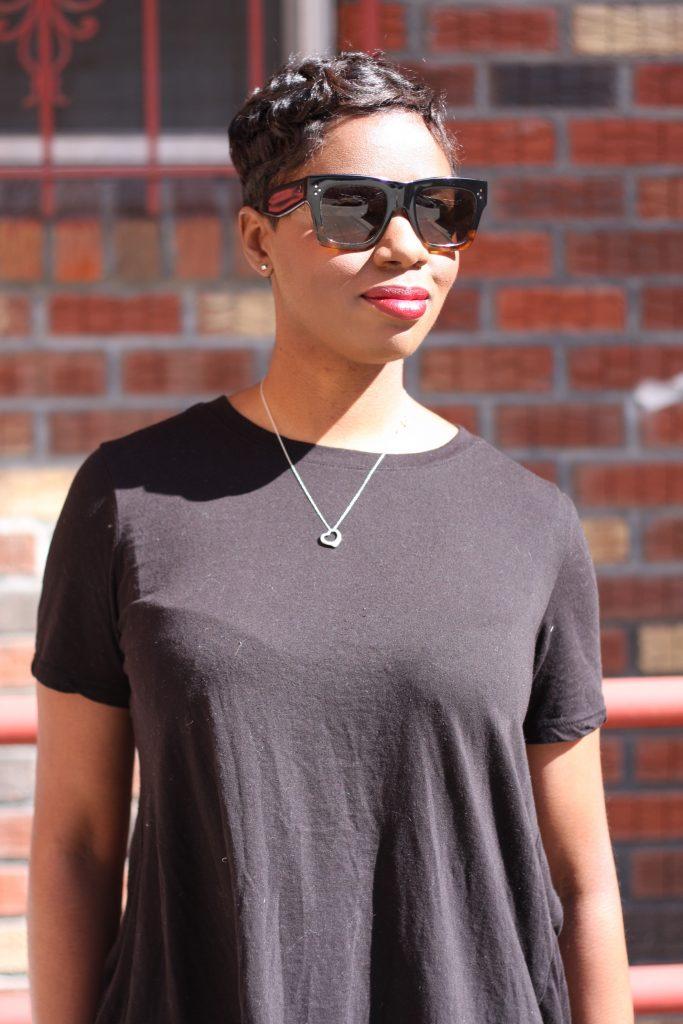 black open back top camo pants celine sunglasses accessories makeup