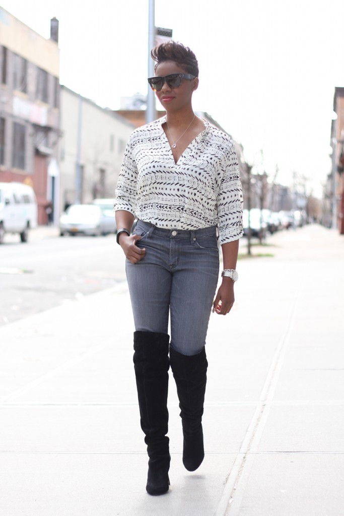 printed tunic grey jeans otk boots tuck full look