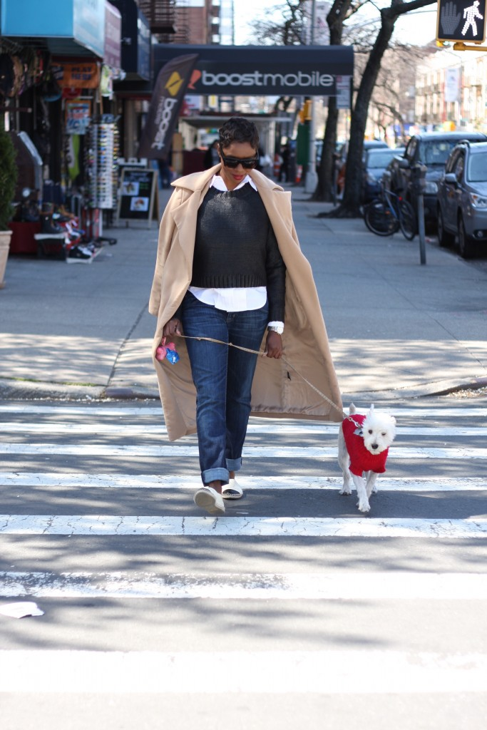 Dexter and me camel coat cropped sweater straight leg jeans espadrilles walking