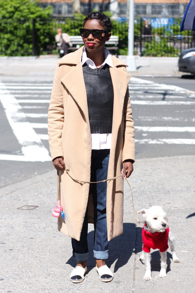 Dexter and me camel coat cropped sweater straight leg jeans espadrilles