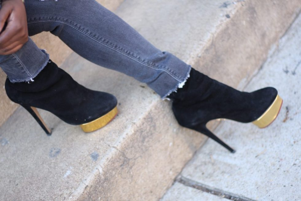 moto chic black ankle boots