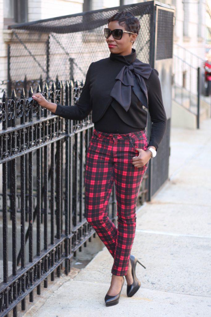 bow jacket plaid pants black pumps 2016 spring fashion