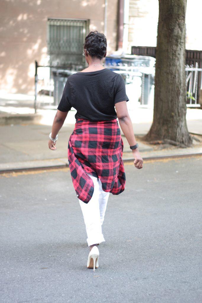graphic tee plaid shirt boyfriend jeans white pumps spring NYC fashion rear