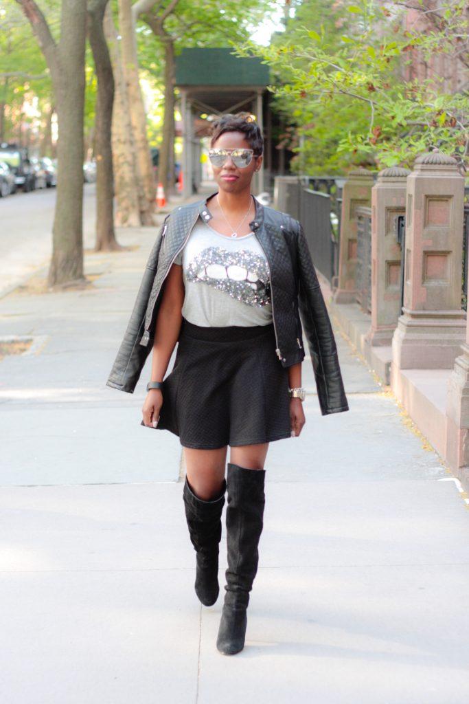 leather jacket sequin tshirt black miniskirt OTK boots mirrored aviators spring 2016 style
