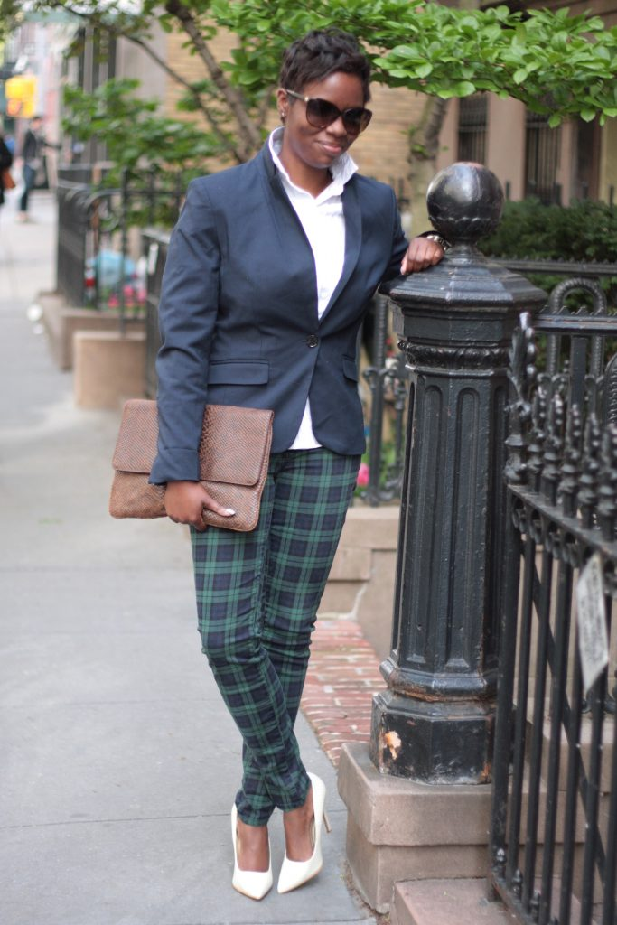 preppy white blouse navy blazer plaid pants white pumps envelope clutch spring 2016