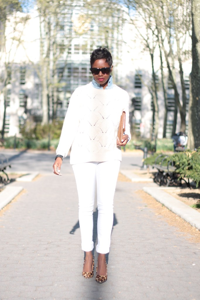 chambray shirt cream sweater white jeans envelope clutch leopard pumps spring 2016 style