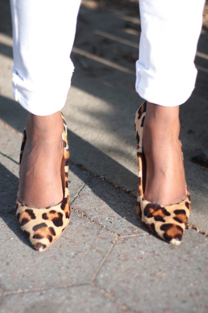 white denim leopard pumps spring 2016 close up