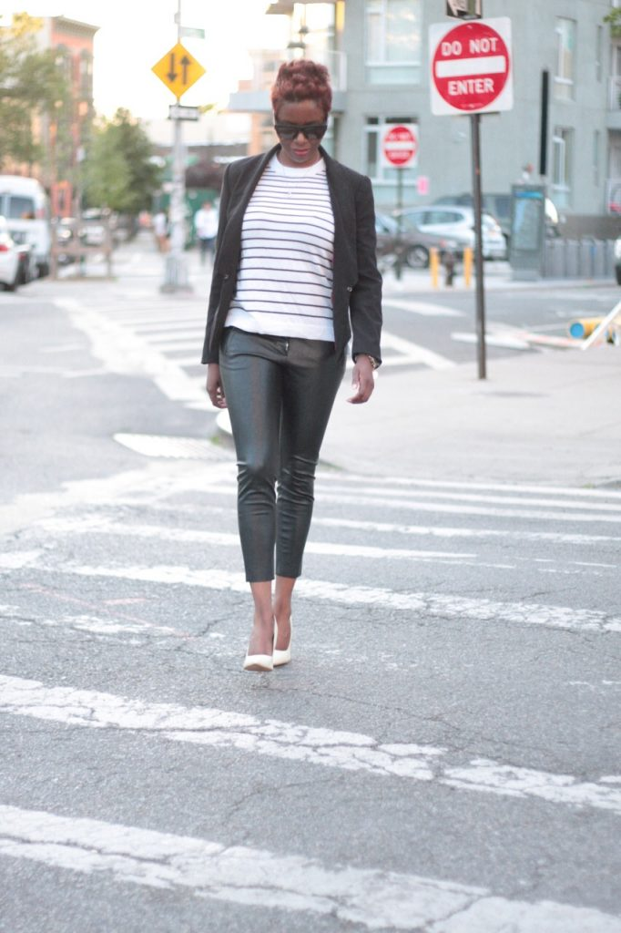 the white rose leather pants striped shirt black blazer white pumps style