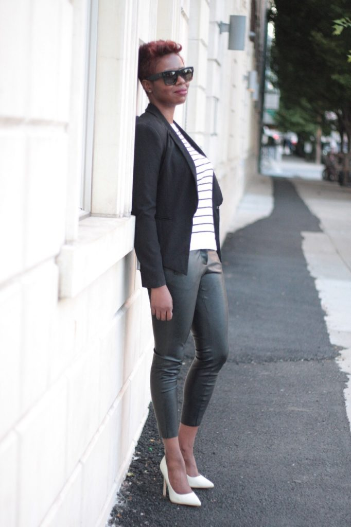 the white rose leather pants striped shirt black blazer white pumps blogger style