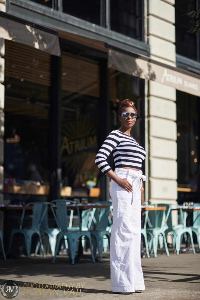 breton stripes crop top white flare jeans chloe wedges summer blogger style NYC 2016