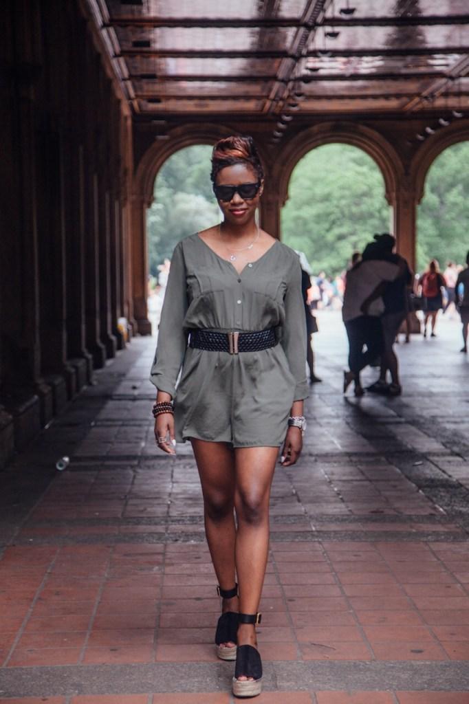 olive romper black belt chloe wedges central park NYC summer fashion