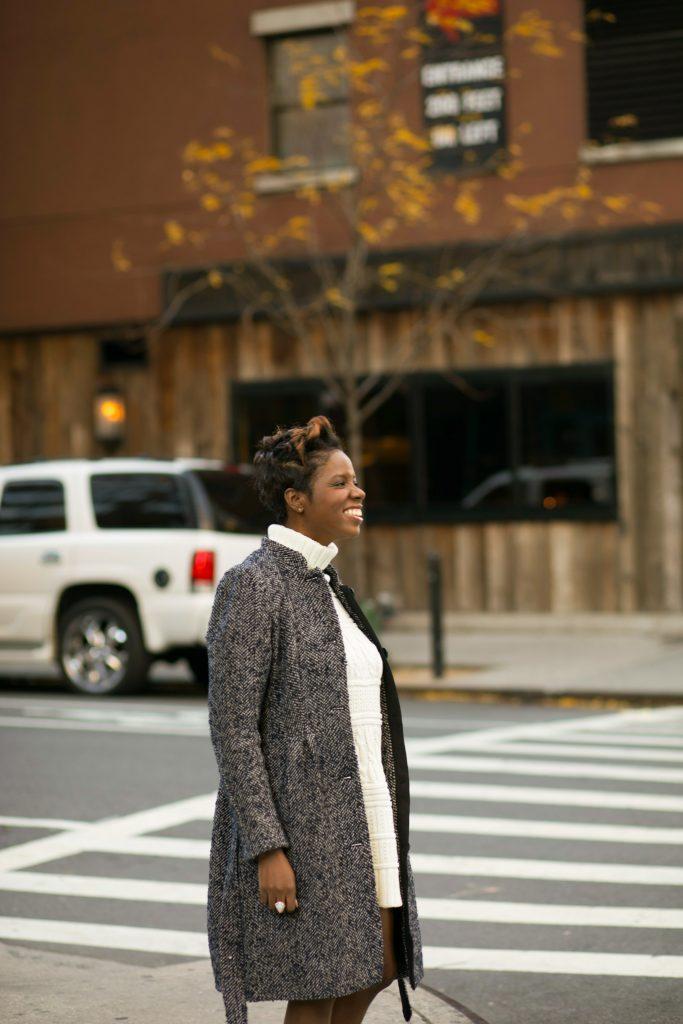 herringbone coat sweater dress smile nyc fall fashion