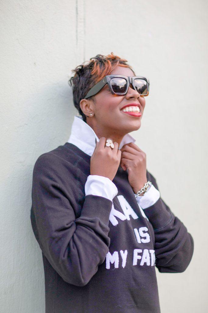 white blouse black karl boyfriend sweatshirt nyc fashion 2016 accessories detail