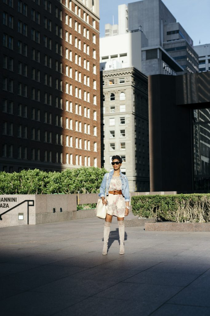 american eagle denim jacket forever 21 paisley dress stuart weitzman highland over the knee boots mansur gavriel bucket bag amber richele fashion blogger san francisco
