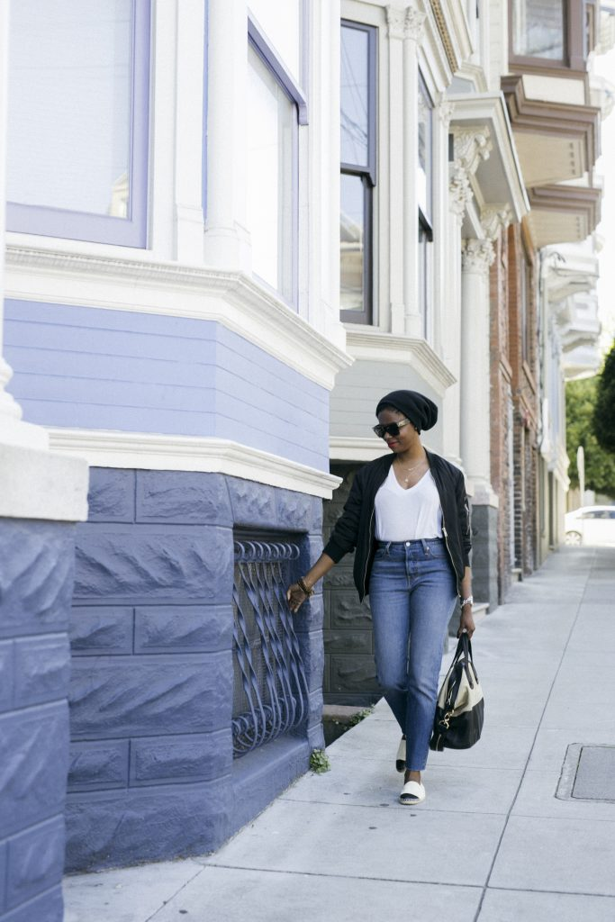 h&m beanie celine sunglasses asos bomber jacket express one eleven tshirt levis wedgie jeans chanel espadrilles behind the scenes bts san francisco sf fashion style blog blogger